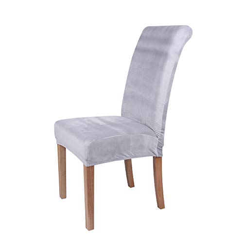 Colorxy Velvet Spandex Fabric Stretch Dining Room Chair Slipcovers Home Decor Set of 2, Light Gray