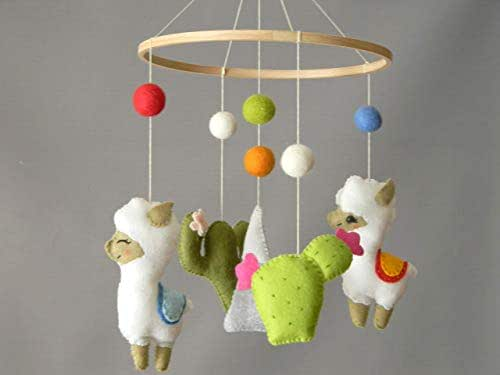 Amazon.com: Llama Cactus baby mobile Alpaca nursery mobile ...