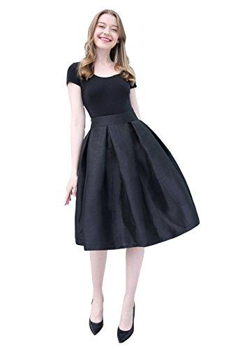 Black Satin Pleated Mini Skirt - Irenwedding Women's High Waist Basic Hand Pockets Stretchy Pleated Skirt Midi Skirt Short Black XL