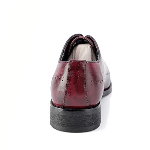 EU Estilo Color Oxford Hombre Marron 46 2018 Negocios Vino de de para Cuero Oscuro Brogue Hombre Fang Oxford Zapatos tamaño Genuino Casual shoes Zapatos wFpxBpq