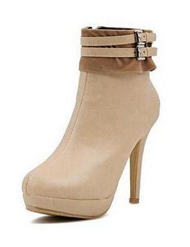 black Negro Zapatos Stiletto Casual cn35 eu36 cn39 Tacón Punta uk3 Beige mujer uk6 Botas Redonda us8 cn39 XZZ almond eu39 de us5 black uk6 eu39 5 5 us8 Semicuero vIwnT