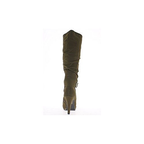Taupe stivali a tacco di 9,5 cm piattaforma suede sguardo