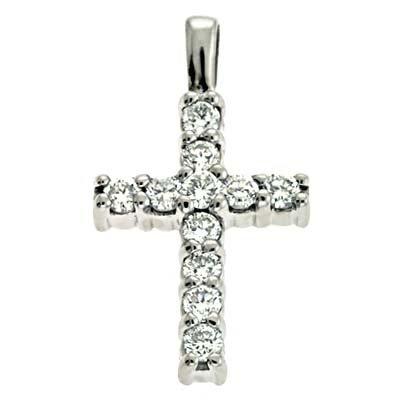 Or blanc 14carats A partagé 0,68CT Diamant Pendentif Croix