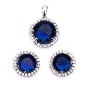 75in Pendant - Halo Blue Sapphire & CZ 925 Sterling Silver Earring & Pendant Set 75