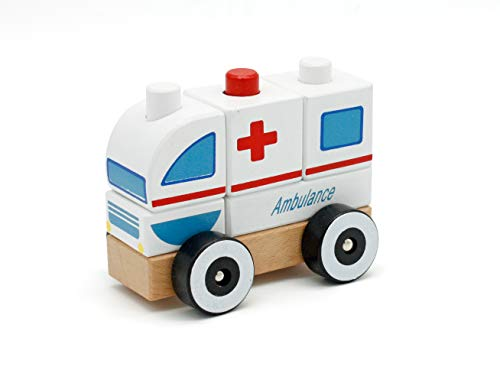 london-kate Wooden Ambulance Car Block Set - Stacking Car Blocks ()