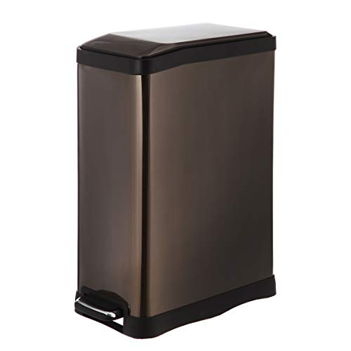 Home Zone Stainless Steel Kitchen Trash Can with Rectangular Design and Step Pedal   45 Liter / 12 Gallon Storage with Removable Plastic Trash Bin Liner, Black