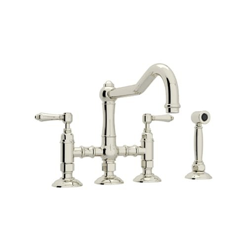 Rohl A1458LMWSPN-2 Country Kitchen Three Leg Bridge Faucet with Metal Levers Sidespray and 9-Inch Reach Column Spout, Polished Nickel