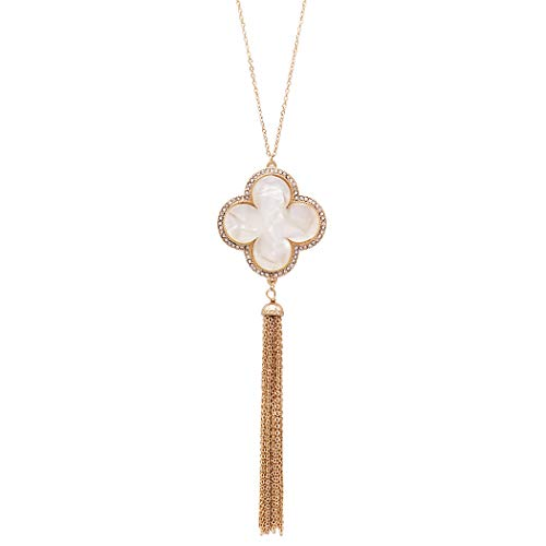 Rosemarie Collections Women's Lucite Quatrefoil and Rhinestone with Tassel Long Necklace (White)
