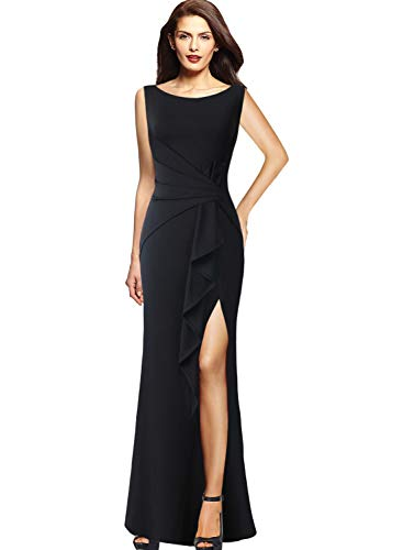 - VFSHOW Womens Ruched Ruffles High Split Formal Wedding Party Maxi Dress 140 BLK S