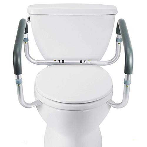 OasisSpace Medical Toilet Safety Frame - Adjustable Compact Support Hand Rails for Bathroom Toilet Seat - Easy Installation for Handicap Senior Bariatrics & Elderly