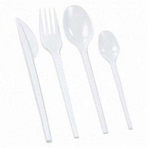 400 Stk. Einweg-Besteck ECO-LINE, 100x Gabel + 100x Messer + 200x Löffel, weiß / Klassische Ausführung aus Polystyrol. Sehr Preiswert
