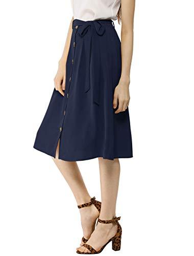 (Allegra K Women's Button Front Casual High Waist Belted Midi Flare Skirt Navy Blue)