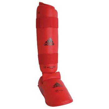 Adidas WKF Leg Protector with Instep Guard - Red - Medium (Sz. 6-7)