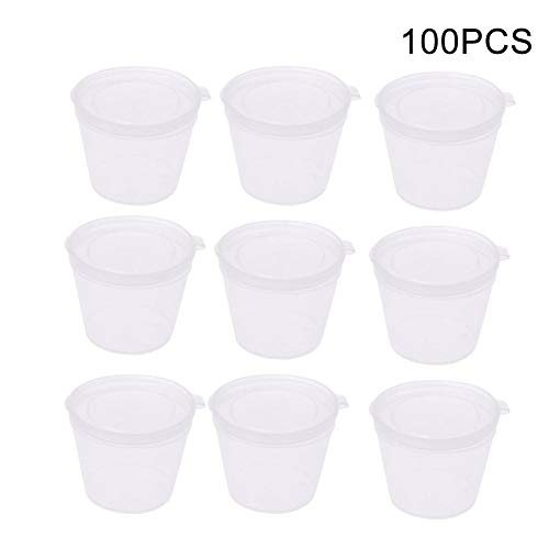 100pcs Plastic Portion Cups Disposable Sauce Condiment Souffle Dressing Mini Containers with Lids -
