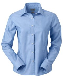Ashworth 7172C Ladies EZ-Tech Herringbone Woven-Long Sleeve Shirts-Small-Yacht Club ()