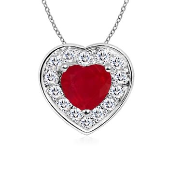 Angara Heart-Shaped Ruby Pendant with Diamond Halo oHvMCwg