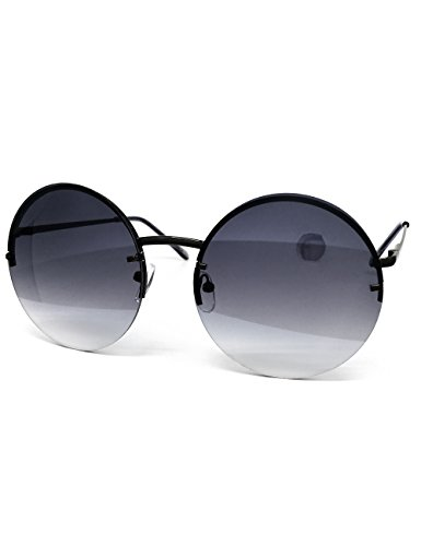 O2 Eyewear 7108 Unique Rimless Oversized Hippie Round Circle Tint Lens Metal Frame Womens Mens Sunglasses (Rimless, - Mirror Circle Oversized
