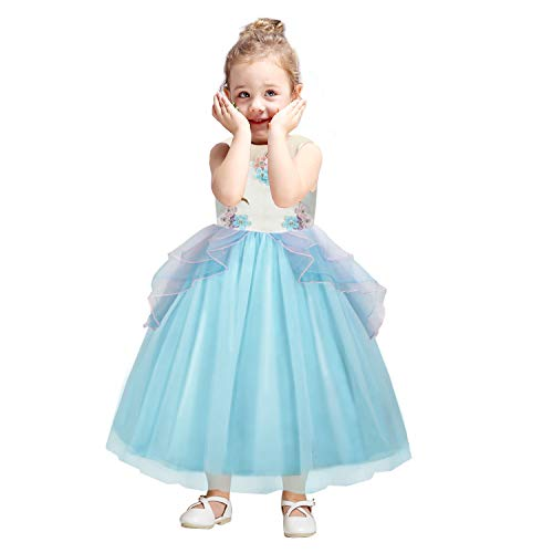 Baby Girls Unicorn Dress Flower Princess Dress up Birthday Party Prom Sleeveless Tulle Gown for 7-8 Years(Blue) -