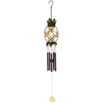 Evergreen Tropical Pineapple Glass and Metal Wind Chime