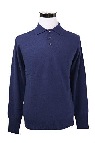 Shephe Men's Polo Cashmere Sweater with 3-Button Grey Marine Medium ()