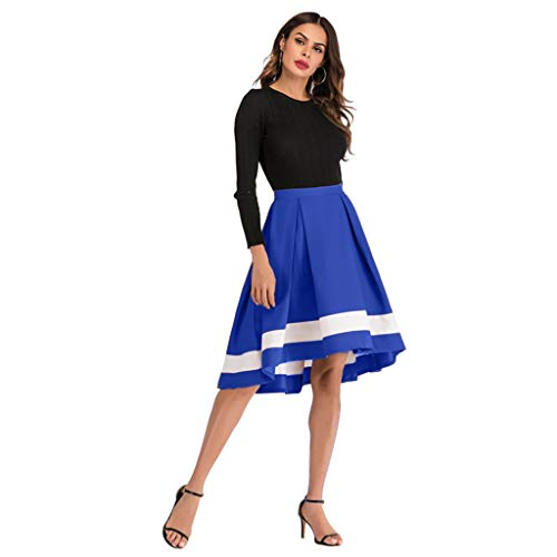 (Womens Side Zipper Bow Tie Front Overlay Pants Ruffle Skirt Contrast Midi Pettiskirt,Blue,XL)
