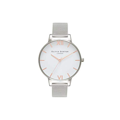 (Olivia Burton White Dial Mesh Watch in Silver)