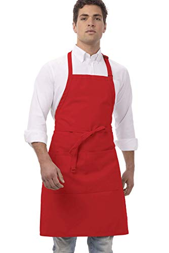 Chef Works Unisex Butcher Apron, Red 34-Inch Length by 24-Inch Width (Colonel Christmas Sanders With)