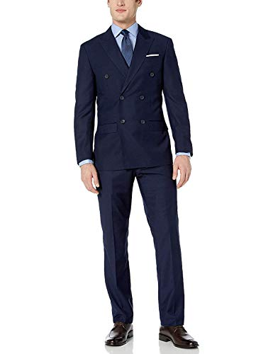 - Adam Baker by Mantoni Men's M40901/2B Double Breasted Wool Suit - Navy - 38R