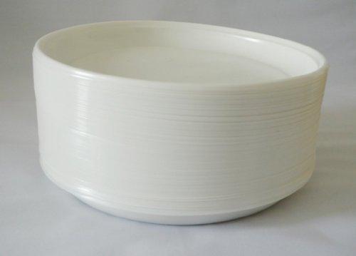100 Partyteller / Plastikteller / Wegwerfteller / Einwegteller mit 3 cm hohem Rand, weiß, Durchmesser ca. 23 cm