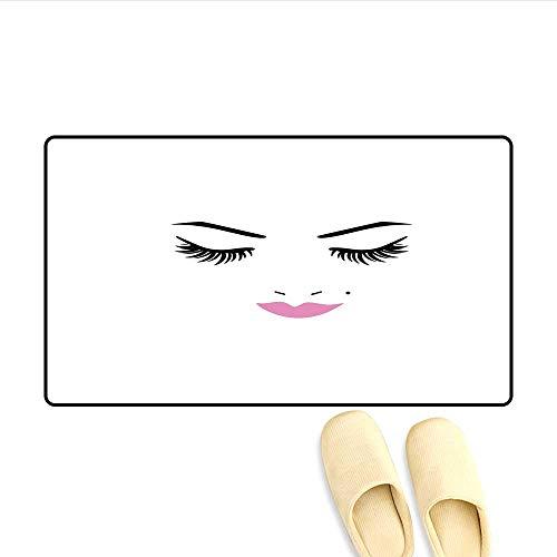 Door Mats Closed Eyes Pink Lipstick Glamor Makeup Cosmetics Beauty Feminine Design Bath Mats for Bathroom Fuchsia Black White 16