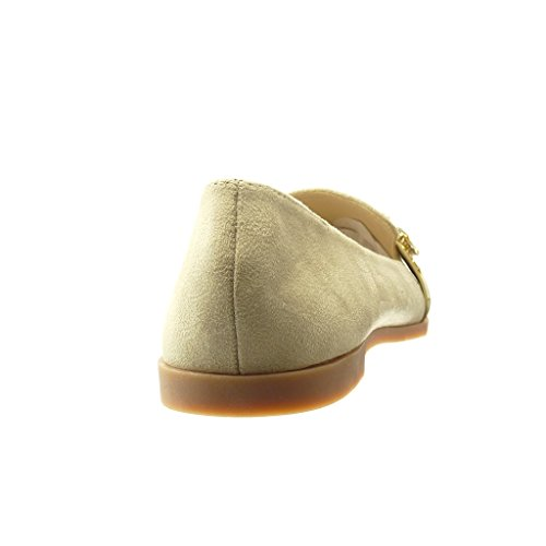 Angkorly - Chaussure Mode Mocassin slip-on femme bijoux strass diamant fantaisie Talon bloc 1.5 CM - Beige