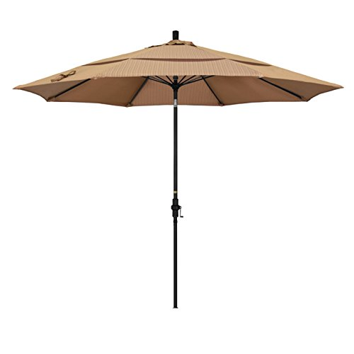 California Umbrella 11' Round Aluminum Pole Fiberglass Rib Market Umbrella, Crank Lift, Collar Tilt, Black Pole, Terrace Sequoia Olefin