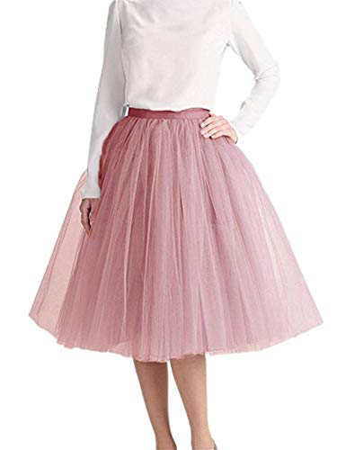 Length Layered Tulle A-line Party Prom Skirt Tulle Skirt Cameo Brown-XXL-Large (Cameo Line)