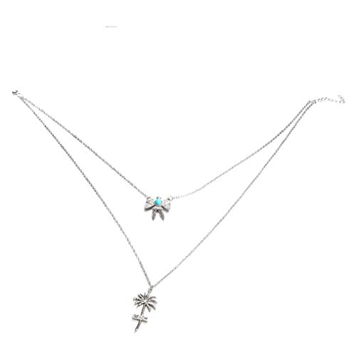 Myhouse Silver Color Beach Coconut Tree Turtle Series Micro-Inlaid Turquoise Multi-Layer Necklace