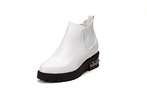 A&N Womens Square Heels Platform Metal Ornament Soft Material Boots White GbdFx5f
