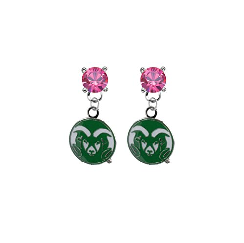 (Colorado State Rams Pink Crystal Stud Post Dangle Earrings)