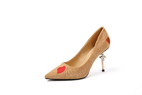 Point Shoes Leisure Shallow Suede MDRW Heels Mouth Spring Camel Letters Thin 39 Elegant Lady Diamond Single Shoes Work 9Cm r84wqYt4