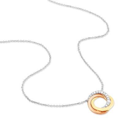 HISTOIRE D'OR - Collier Daphné Or Tricolore et Diamants - Femme - Or 3 couleurs 375/1000 - Taille Unique