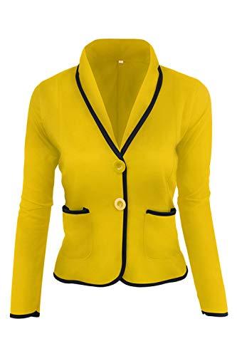 Dazosue Le Donne Balzer Pulsante Slim Fit Ufficio Tasche Giacca Cappotto giallo XL