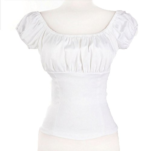 Amashz-White-Women-Rockabilly-Pinup-Peasant-Top-Off-Shoulder-Sexy-Shirt
