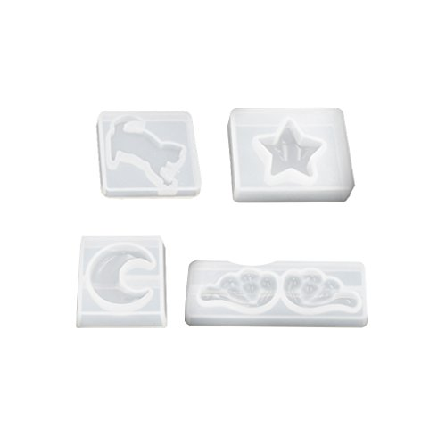 MagiDeal 4 Pieces Silicone Pendant DIY Molds For Resin Jewelry Making Moon/Kitten/Wing/Star