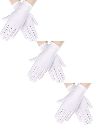 Sumind 3 Pairs Wrist Length Gloves Women Short Satin Gloves Opera Short Gloves for 1920s Wedding Party (White 2)