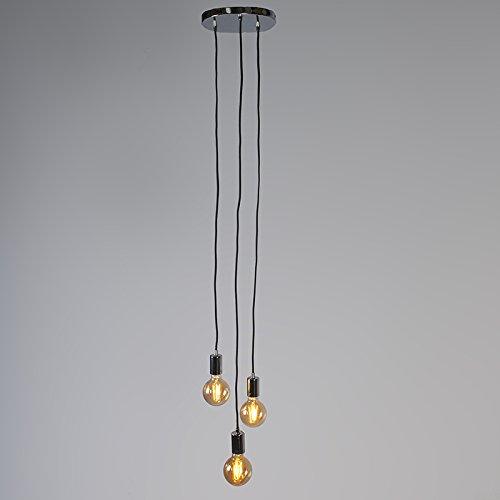 QAZQA Design Modern Pendelleuchte Pendellampe Hängelampe Hängelampe Hängelampe Lampe Leuchte Facil 3-flammig Chrom Innenbeleuchtung Wohnzimmerlampe Schlafzimmer Küche Metall Zylinder LED geeignet E27 Max. 363b0c