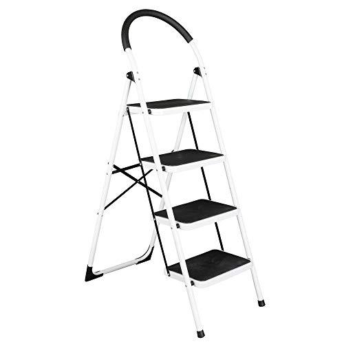 Twin Platform Ladder Step (Snow Shop Everything 4 Step Ladder Folding Steel Work Platform Stool Heavy Duty Safety 330lb Capacity)