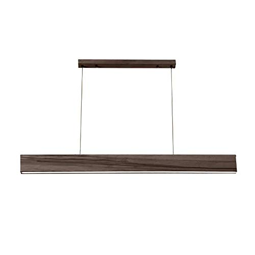 Mengzhu-Michelle LED Long Strip Wood Lamp Hanging Light Personality Wood Hanging Lamp Modern Dining Room Pendant Lamp Studio Office Pendant Lamp Minimalist Design Three-Color Light L120cm 24