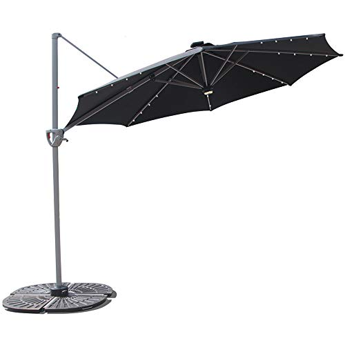COBANA 10' Offset Patio Umbrella with Solar Powered 32LED and Blue-Tooth Speaker and 360 Degree Rotation Pole,Black Review