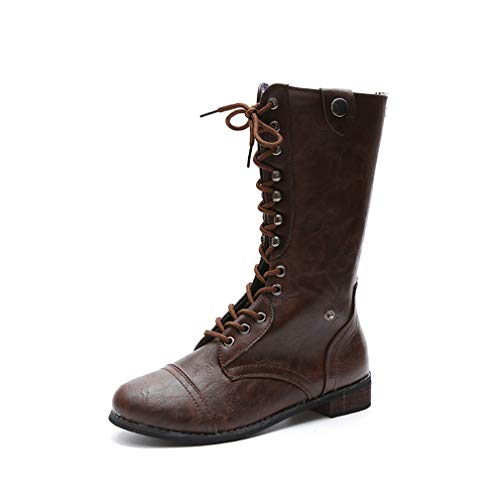 Women's Vintage Lace Up Boots Low Block Heel Platform Zipper Round Toe Studded Winter Riding Boots Brown
