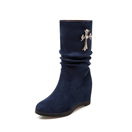 Allhqfashion Women's Low-top Pull-on Frosted High-Heels Round Closed Toe Boots Royalblue