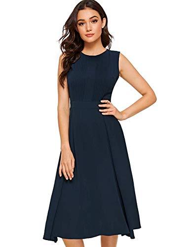 Milumia Women's Elegant Frilled Long Sleeve Pleated Fit & Flare Dress Blue M