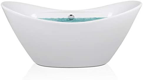 AKDY 67 Bathroom Smooth Glossy Acrylic White Color Freestanding Bathtub w Overflow